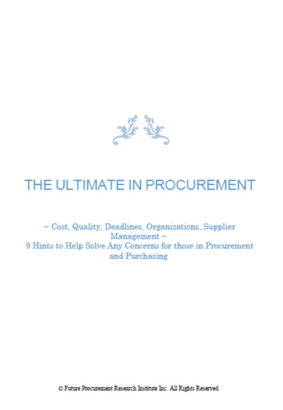 THE ULTIMATE IN PROCUREMENT
